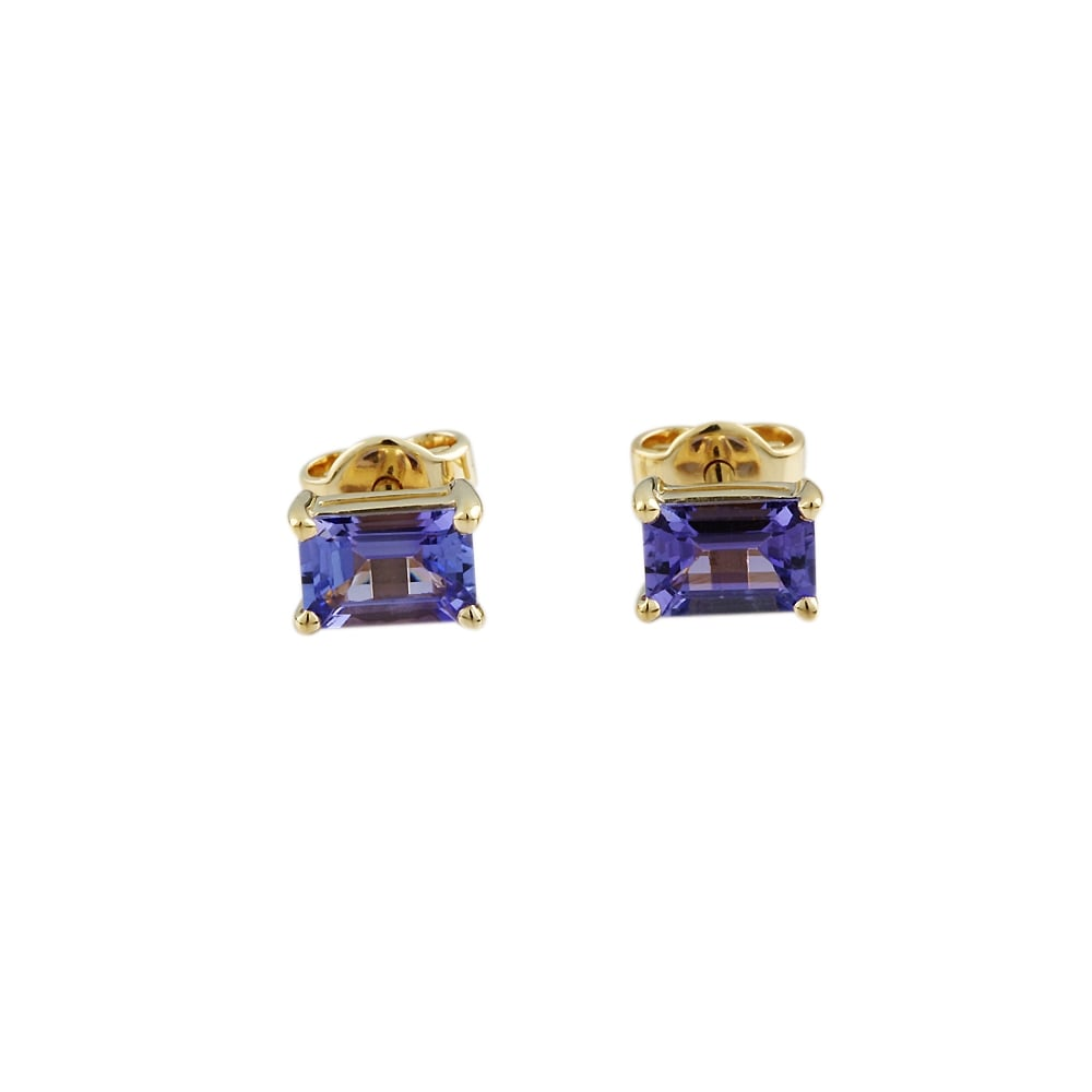 9ct Yellow Gold Tanzanite Stud Earring
