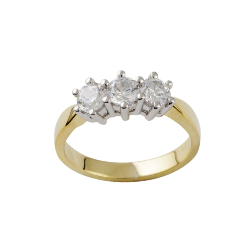 9ct Yellow Gold Three Stone Diamond Ring 0 33ct