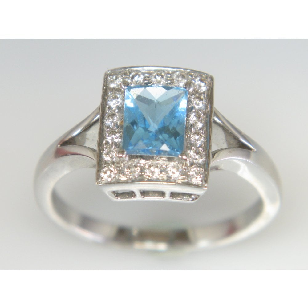 6c0b2d938a880 Handmade 18ct White Gold Blue Topaz 1.29ct and diamond 0.22ct ring
