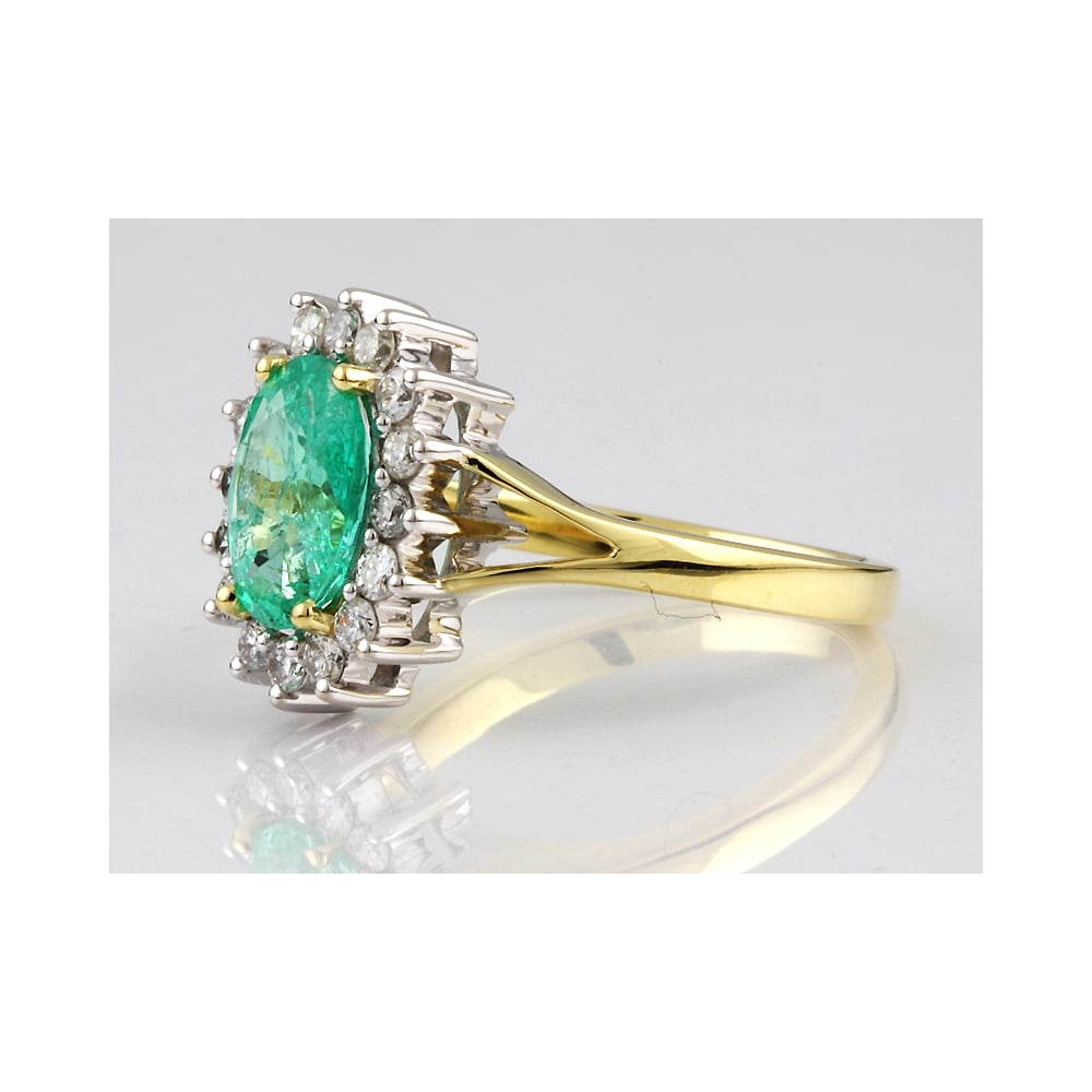 fe01abd66711c Handmade 18ct yellow and white gold emerald and diamond cluster ring