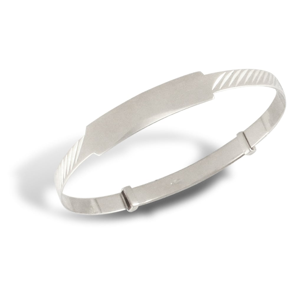 Baby Solid 9ct White Gold Ribbed Id 3mm Expanding Bangle Bracelet
