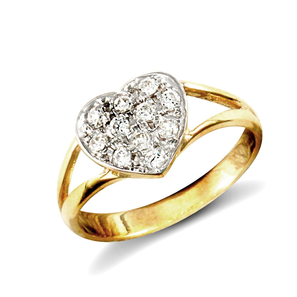 S Solid 9ct Yellow Gold White Round Brilliant Cubic Zirconia Love Heart Split Shoulders Baby Ring