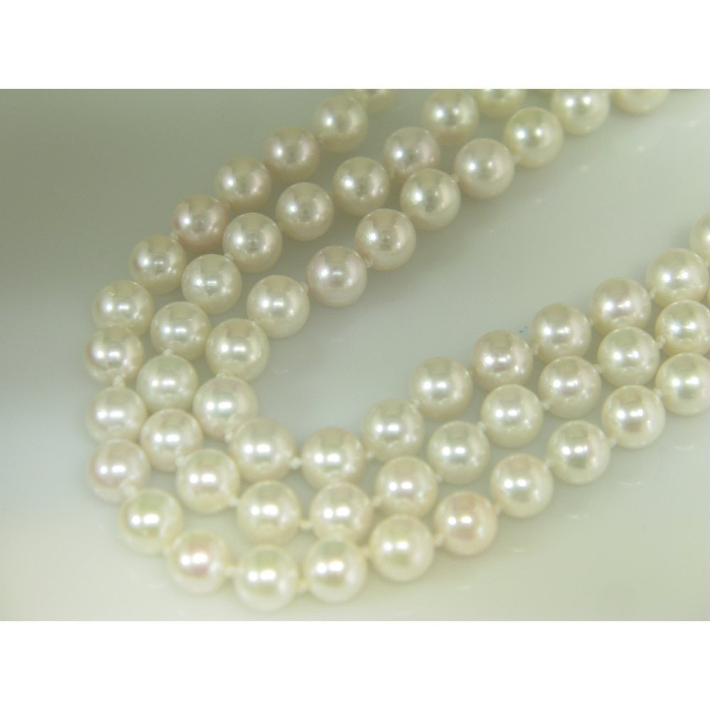 Knotted Three Strand Cultured Pearl Necklace With 9ct