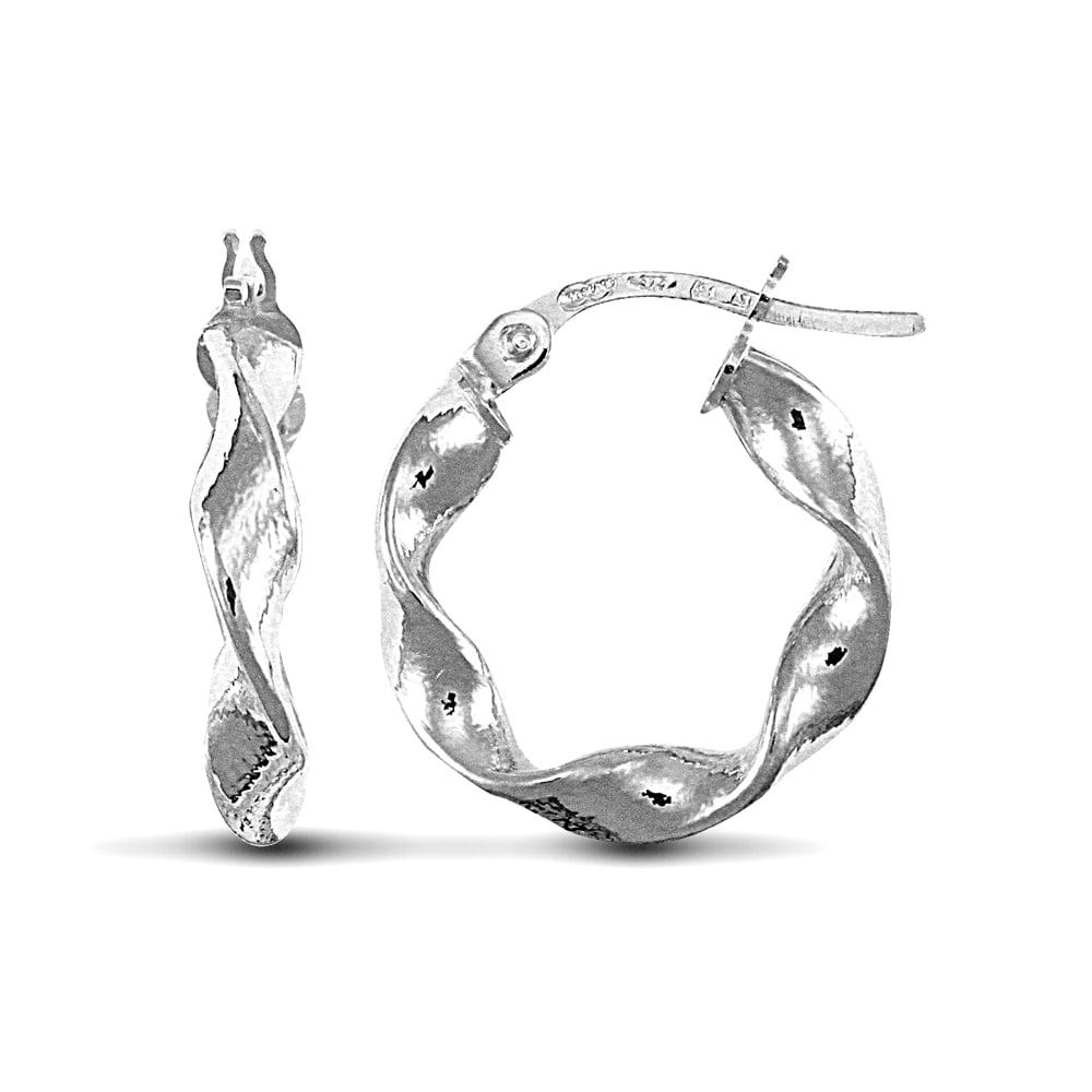 5ff03f446 Ladies 9ct White Gold Candy Twist 3mm Hoop Earrings 16mm