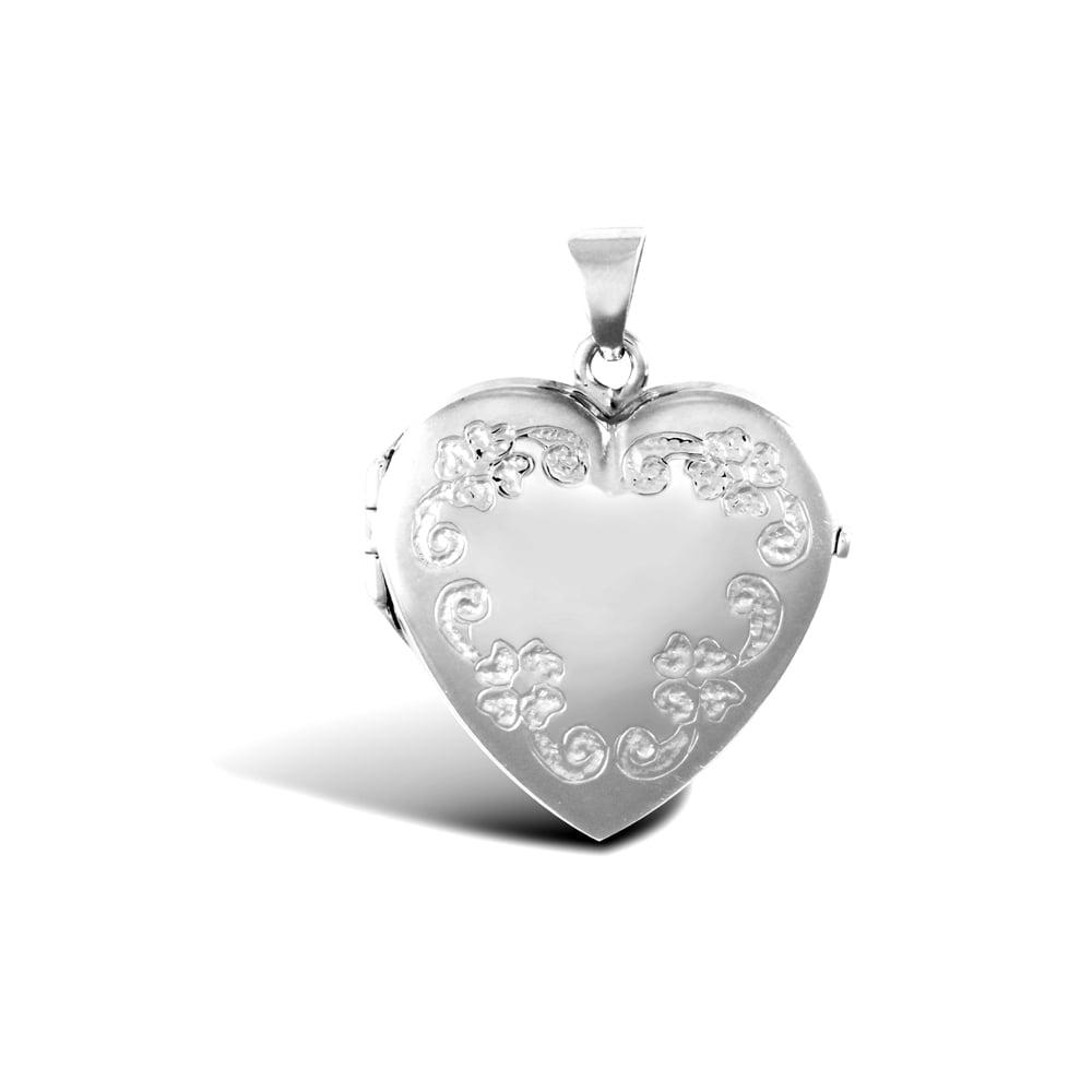 Ladies 9ct White Gold Engraved Flower Frame Love Heart Locket Pendant