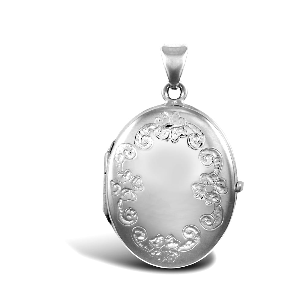 Ladies 9ct White Gold Floral Frame Oval Locket Pendant