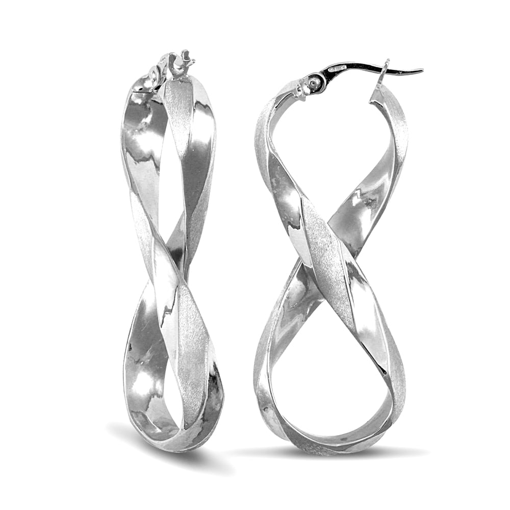 487a3af1c Ladies 9ct White Gold Frosted Infinity 8 Hoop Earrings