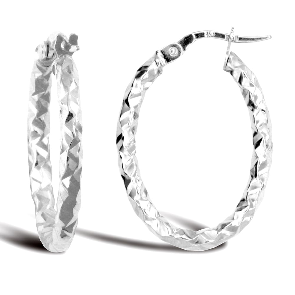 268191254 Ladies 9ct White Gold Hammered Faceted Oval 2.5mm Hoop Earrings