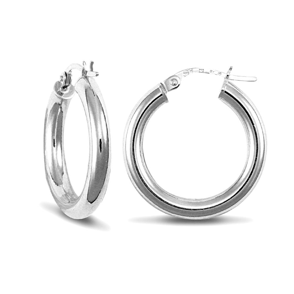 3d7274b16b74d Ladies 9ct White Gold Polished 3mm Hoop Earrings 20mm