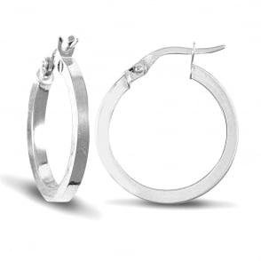 Las 9ct White Gold Square 2mm Hoop Earrings 20mm