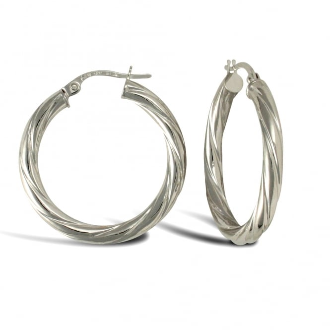 25f5e0e05 Ladies 9ct White Gold Twisted 3mm Hoop Earrings 25mm