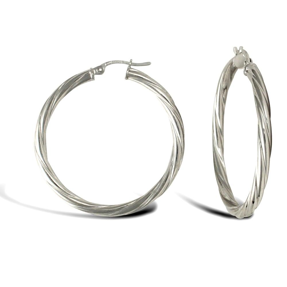 4edae1035 Ladies 9ct White Gold Twisted 3mm Hoop Earrings 35mm