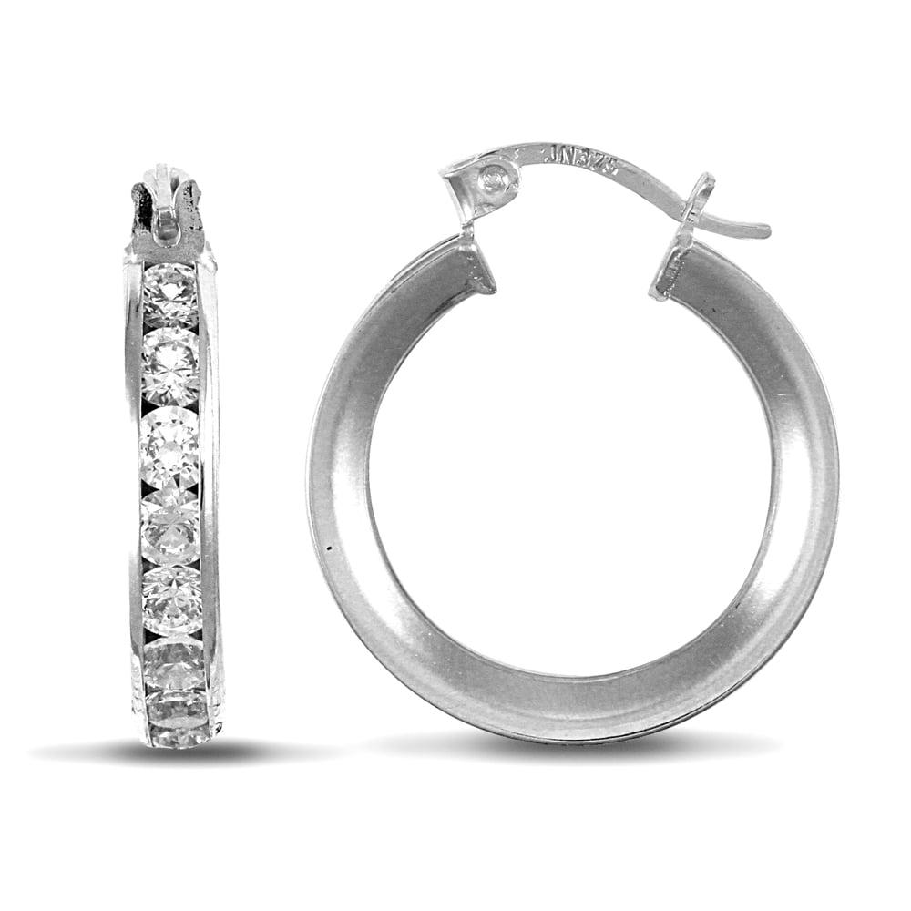 dde8df087 Ladies 9ct White Gold White Round Brilliant Cubic Zirconia Eternity 4mm Hoop  Earrings 17mm