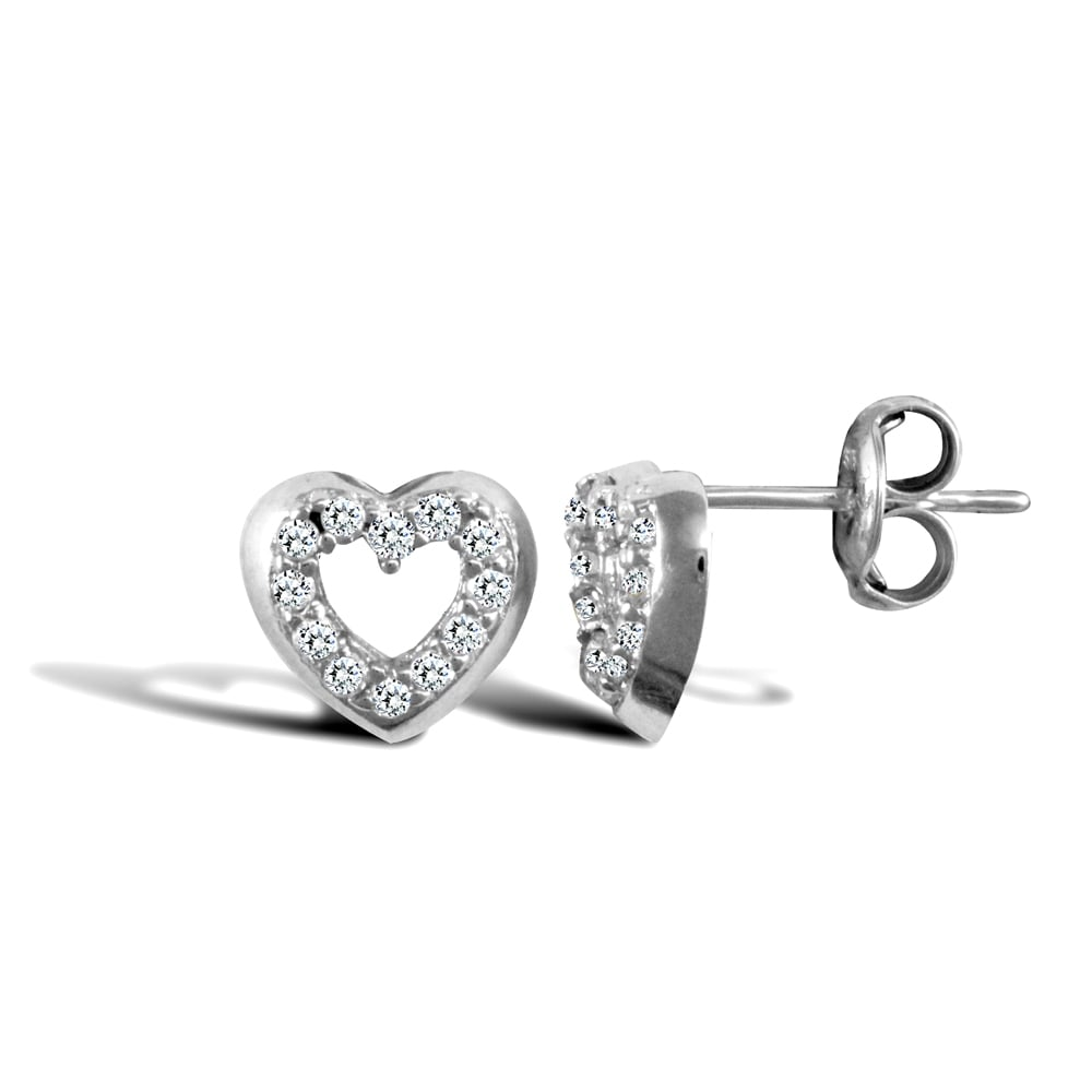 Las 9ct White Gold Round Brilliant Cubic Zirconia Love Heart Stud Earrings