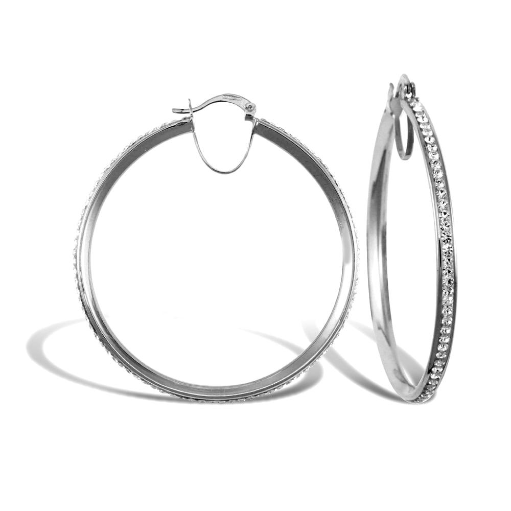 Las 9ct White Gold Round Crystal Eternity 3mm Hoop Earrings 40mm