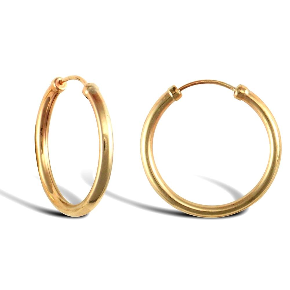 9ct Gold 18mm Hoop Sleeper earrings IIFj8WX