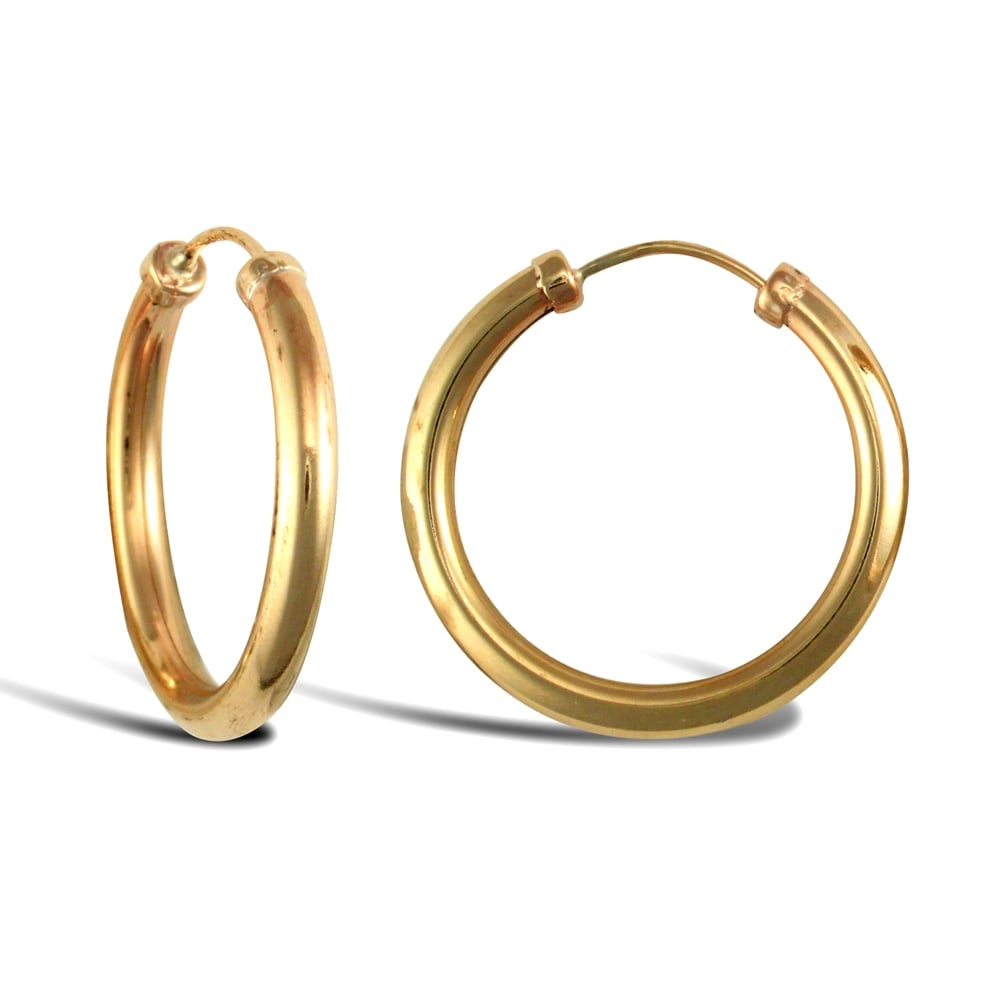 2 5 Mm Earrings: Ladies 9ct Yellow Gold Capped Sleeper 2.5mm Hoop Earrings 20mm