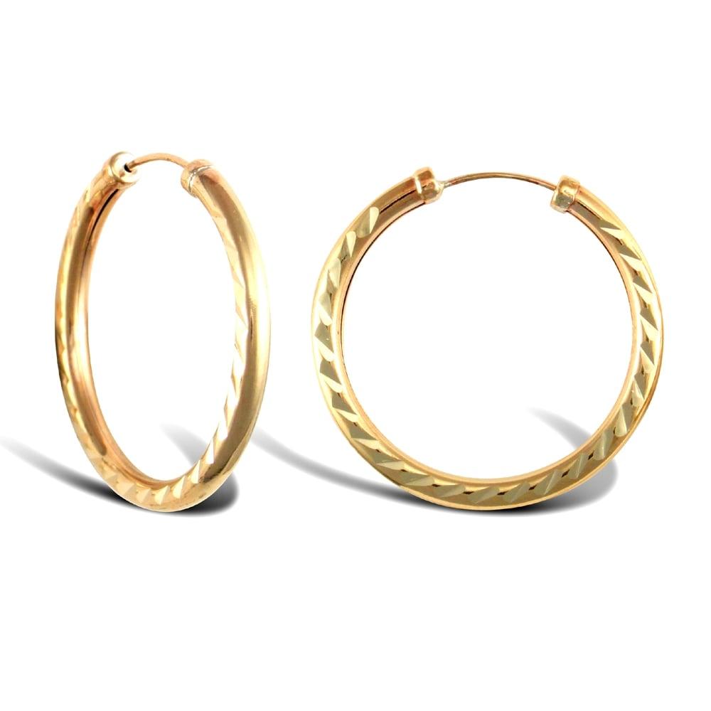 2 5 Mm Earrings: Ladies 9ct Yellow Gold Diamond Cut Capped Sleeper 2.5mm