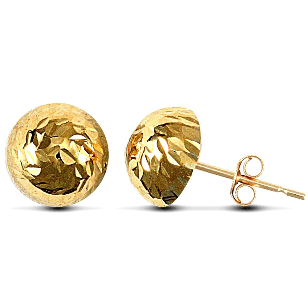 6d5471b84e29e Ladies 9ct Yellow Gold Diamond Cut Half Ball Stud Earrings, 9mm