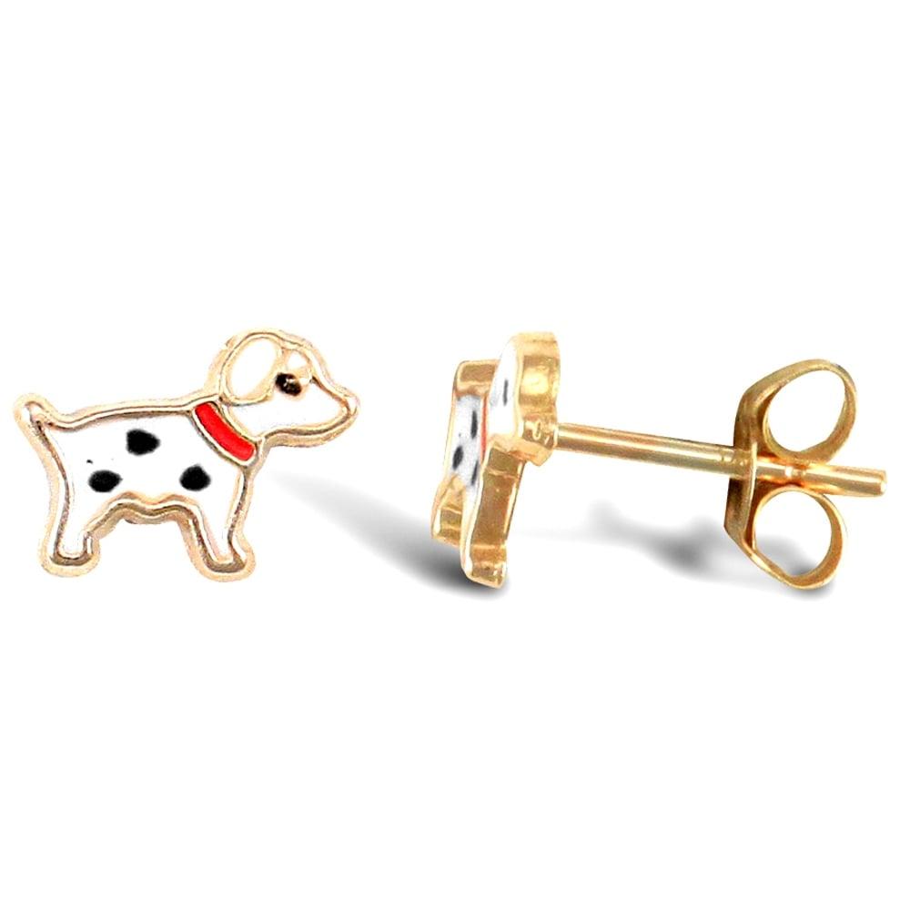 Girls 9ct Gold Enamel Dalmatian Dog Puppy Pet Studs Earrings XMas B/'Day GIFT BOX