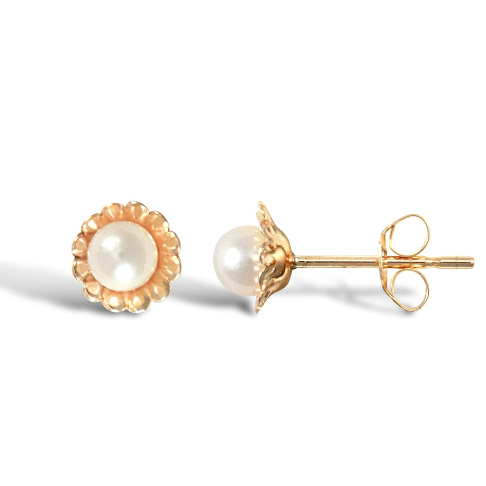 or toddlers karat more baby stud earring gold white first pearl views cultured