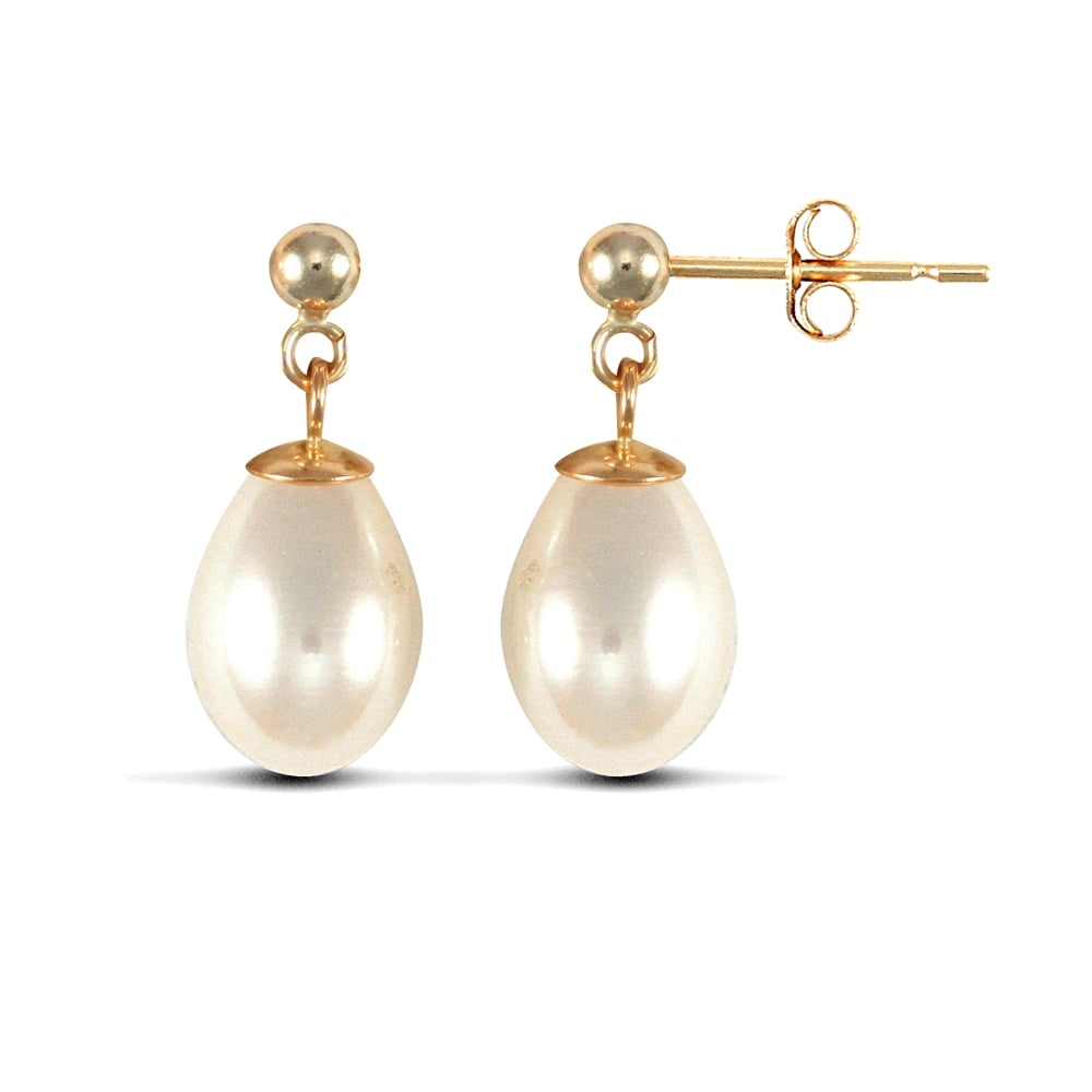 9ct Yellow Gold Freshwater Cultured Pearl Drop Earrings WH6tB9
