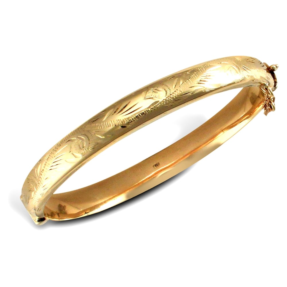 7966e30920e ... 8mm Bangles  Ladies 9ct Yellow Gold Hinged Engraved Victorian 8mm