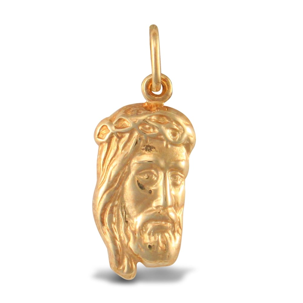 Ladies 9ct yellow gold jesus head charm pendant aloadofball Choice Image