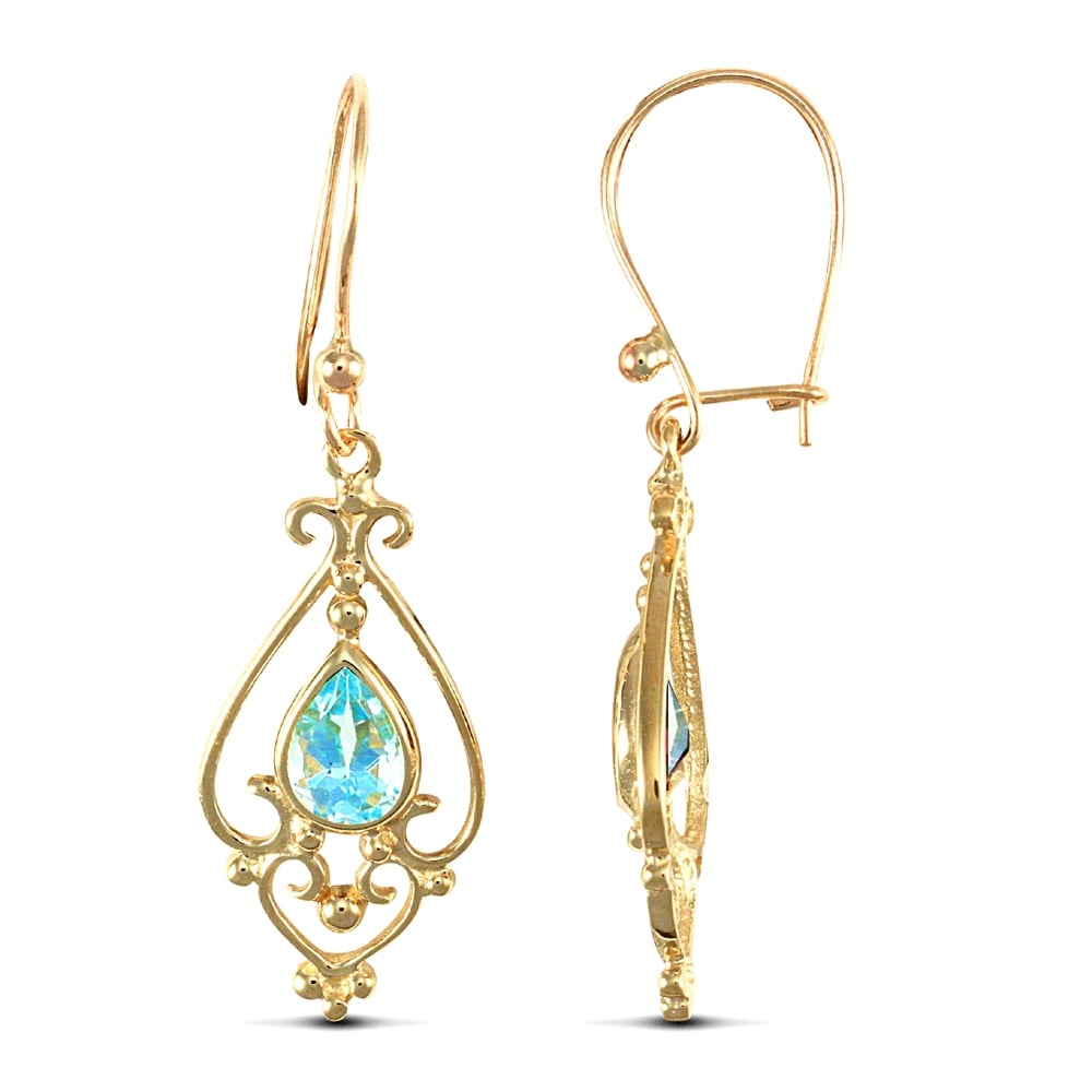 9ct yellow gold light blue pear topaz tears of joy chandelier drop ladies 9ct yellow gold light blue pear topaz tears of joy chandelier drop earrings arubaitofo Gallery