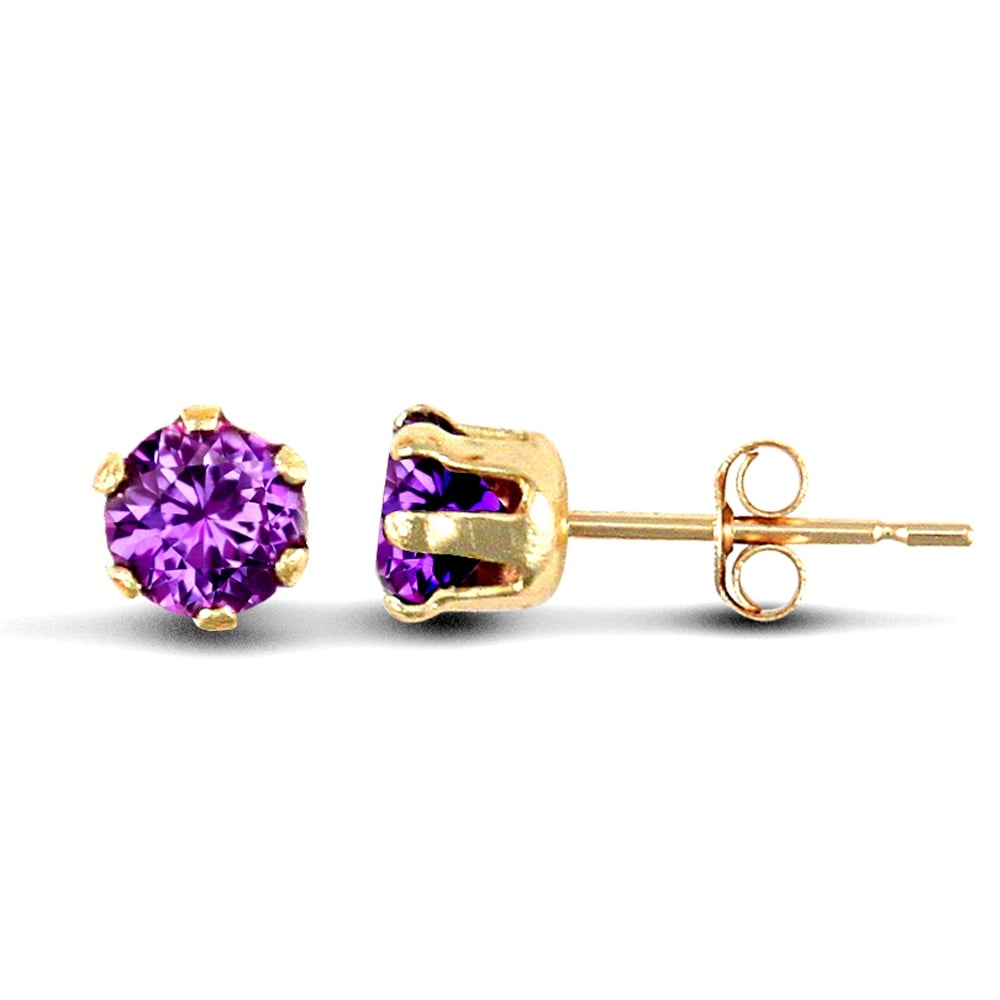 Las 9ct Yellow Gold Purple Round Brilliant Cubic Zirconia Solitaire Claw Set Stud Earrings 3mm