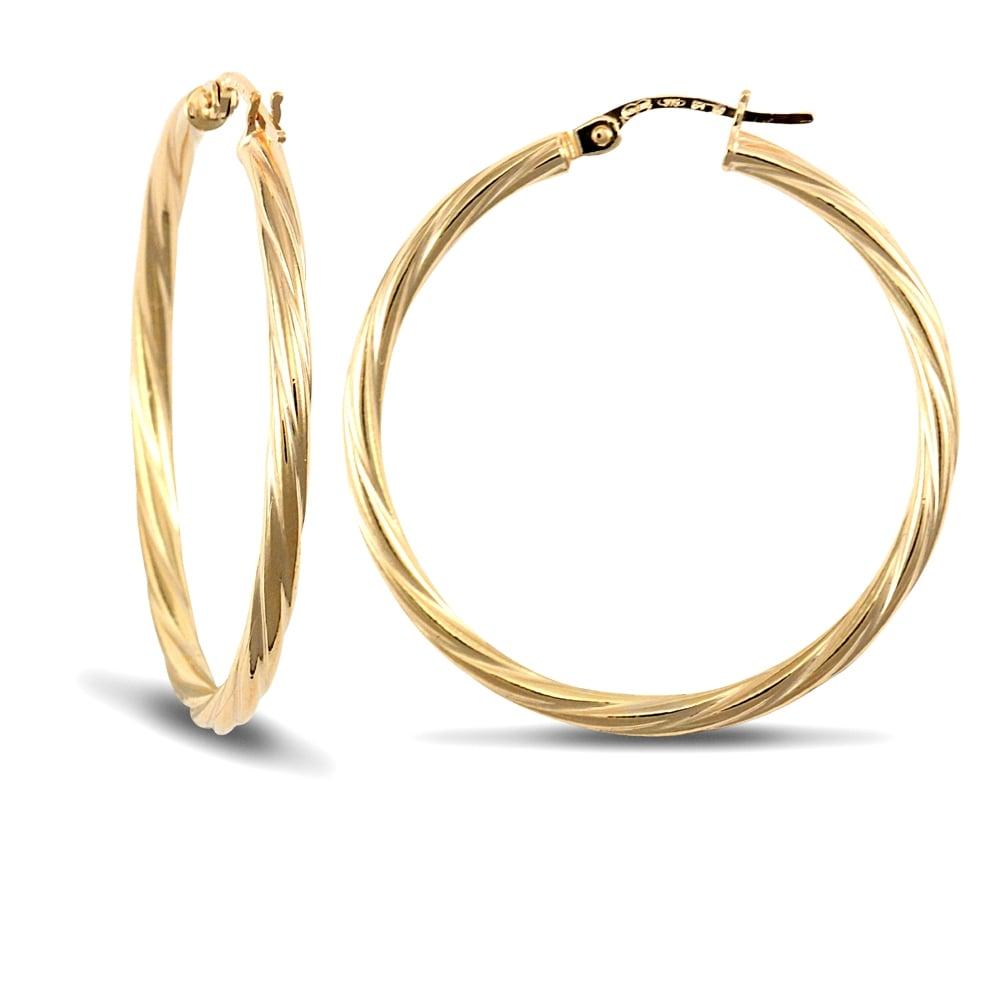 2 5 Mm Earrings: Ladies 9ct Yellow Gold Twisted 2.5mm Hoop Earrings 34mm