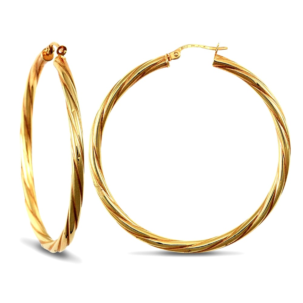 f5b1d9ffd Ladies 9ct Yellow Gold Twisted 3mm Hoop Earrings 45mm