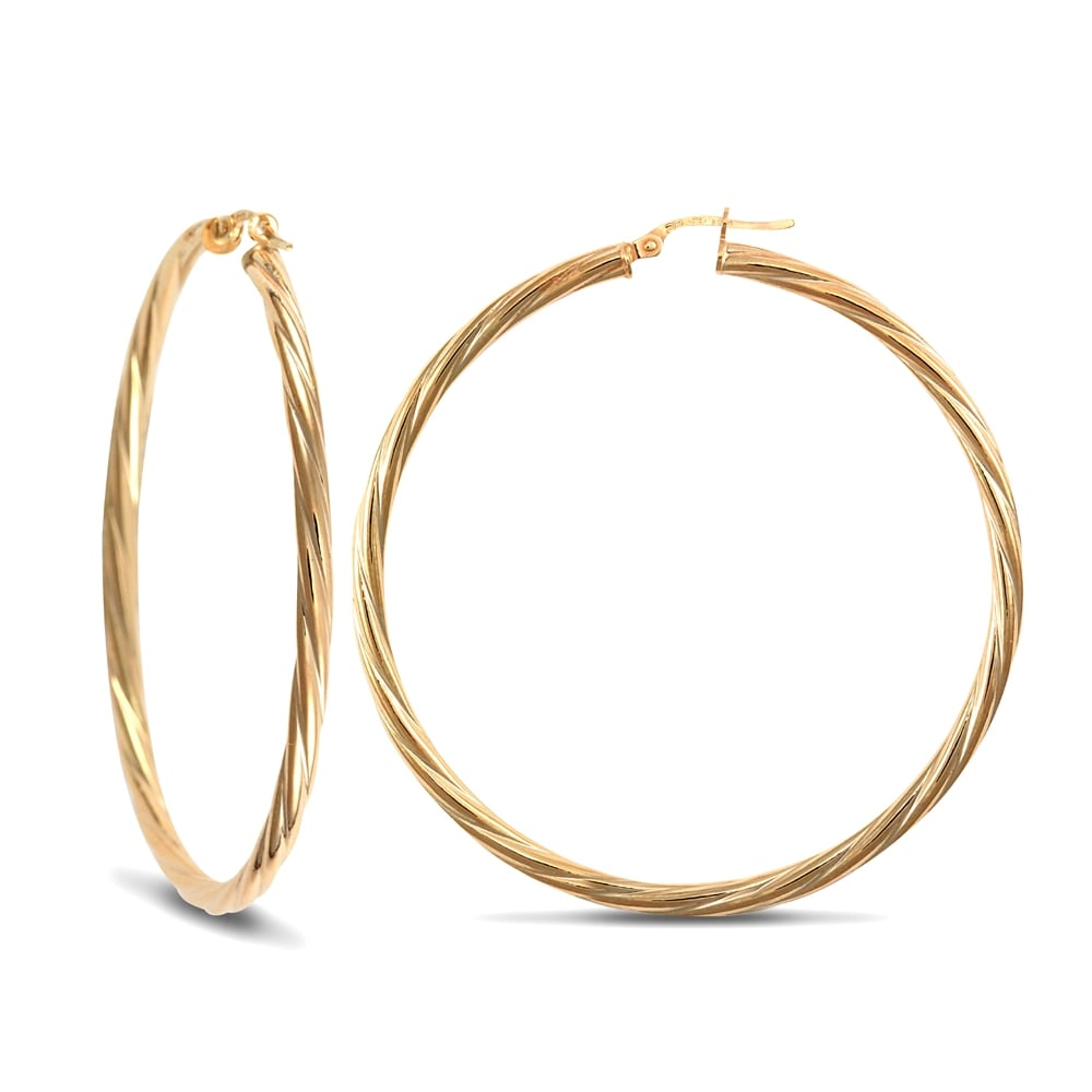 0d9912cc3 Ladies 9ct Yellow Gold Twisted 3mm Hoop Earrings 55mm