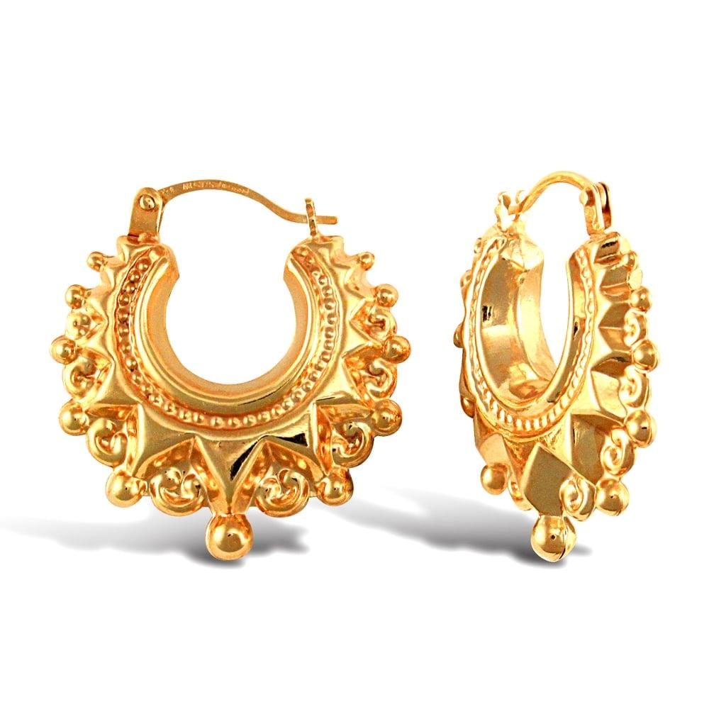 Ladies 9ct Yellow Gold Victorian Spike Hoop Creole Earrings