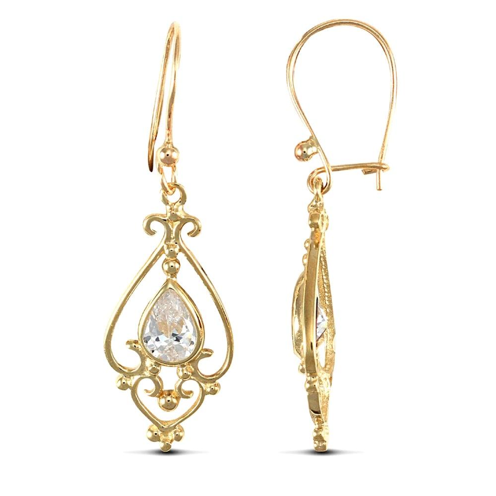 Las 9ct Yellow Gold White Pear Cubic Zirconia Tears Of Joy Chandelier Drop Earrings