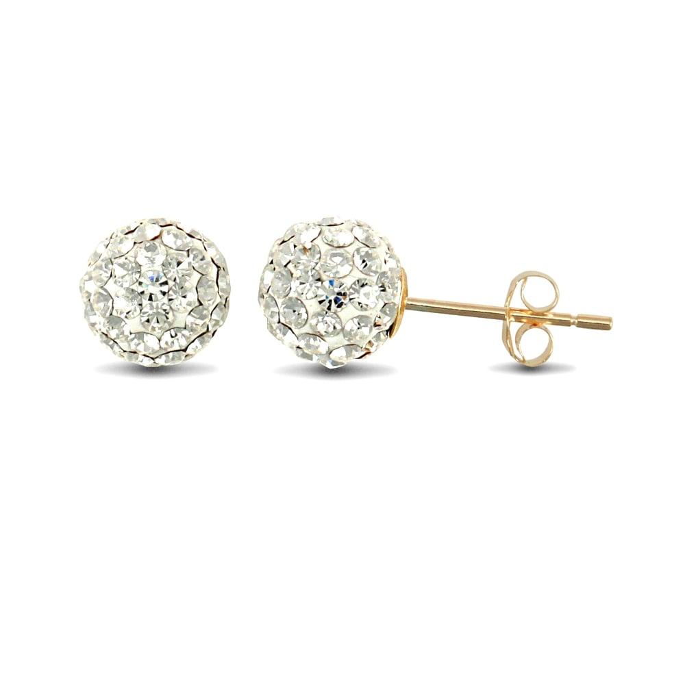 57e53e6b4 Ladies 9ct Yellow Gold White Round Crystal Disco Ball Stud Earrings, 8mm