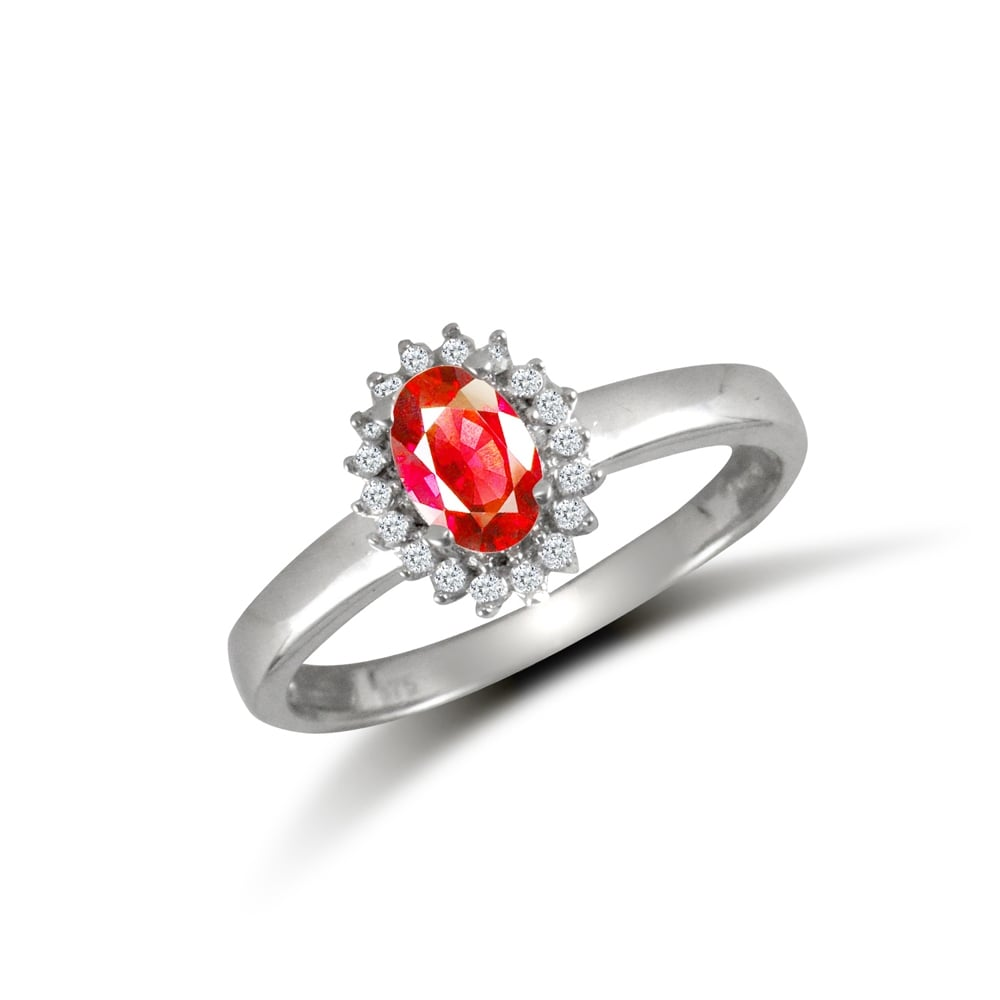 f2ef522b3 Ladies Solid 9ct White Gold Red Oval Cubic Zirconia Royal Princess Style  Oval Cluster Ring