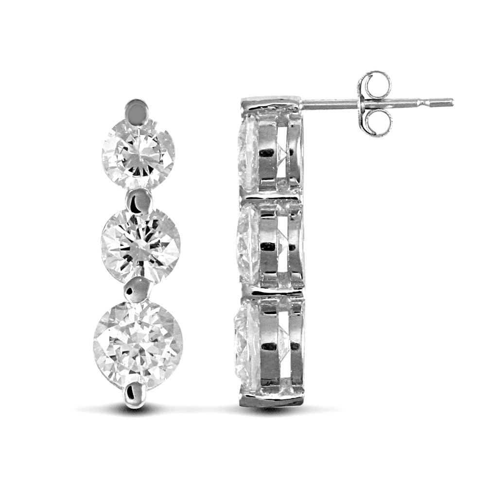 ec286324d Ladies Solid 9ct White Gold White Round Brilliant Cubic Zirconia 3 Stone  Trilogy Stud Drop Earrings, ...