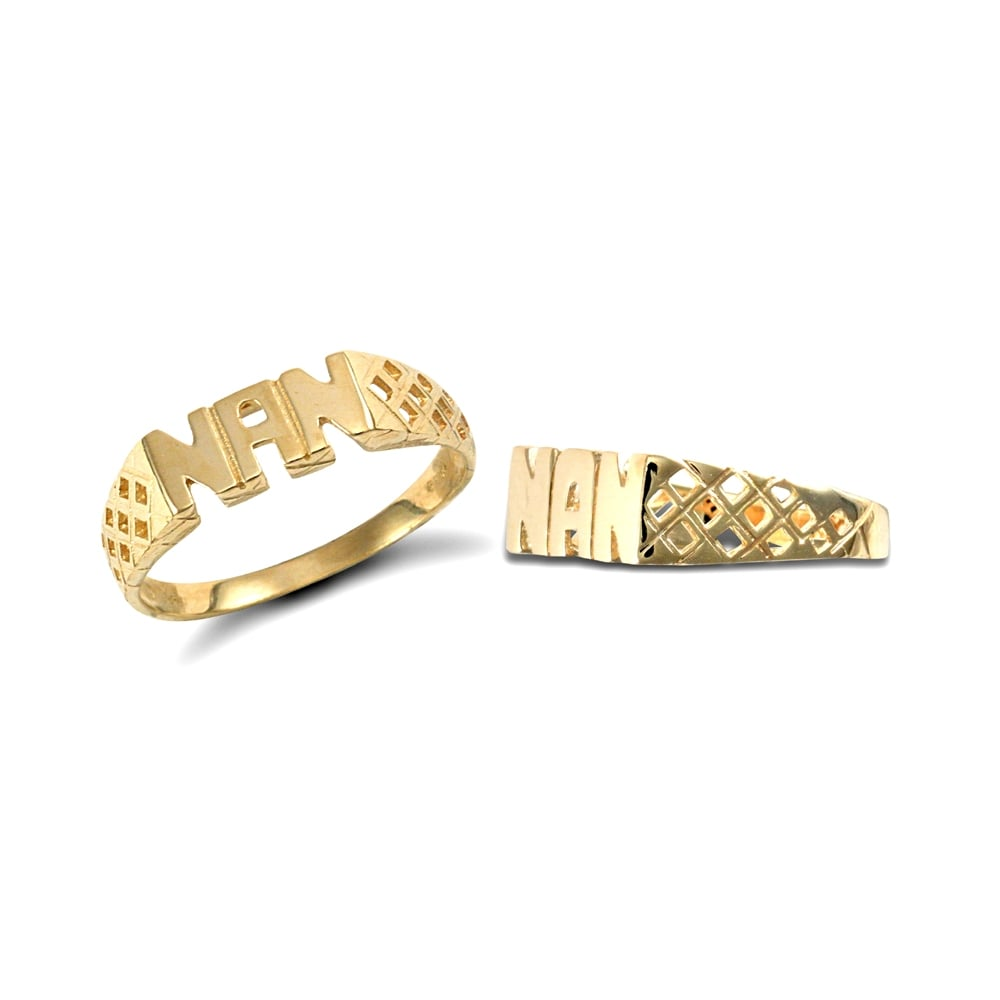 Solid 9ct Yellow Gold Basket Sides NAN Ring