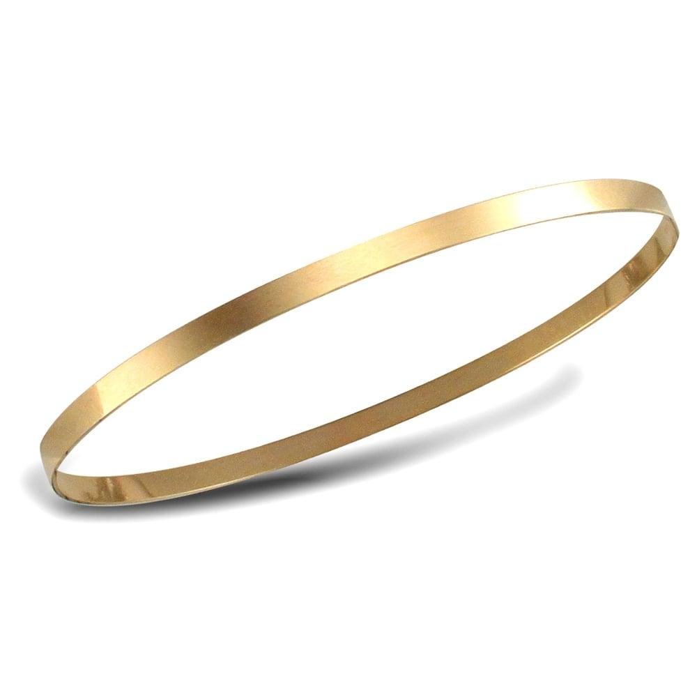 bfceeb058 Ladies Solid 9ct Yellow Gold Flat Band Slave 3mm Bangle Bracelet