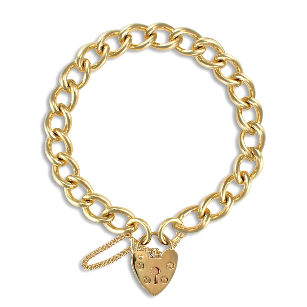 33f3d2418f257 Ladies Solid 9ct Yellow Gold Love Heart Padlock 8mm Gauge Charm Bracelet
