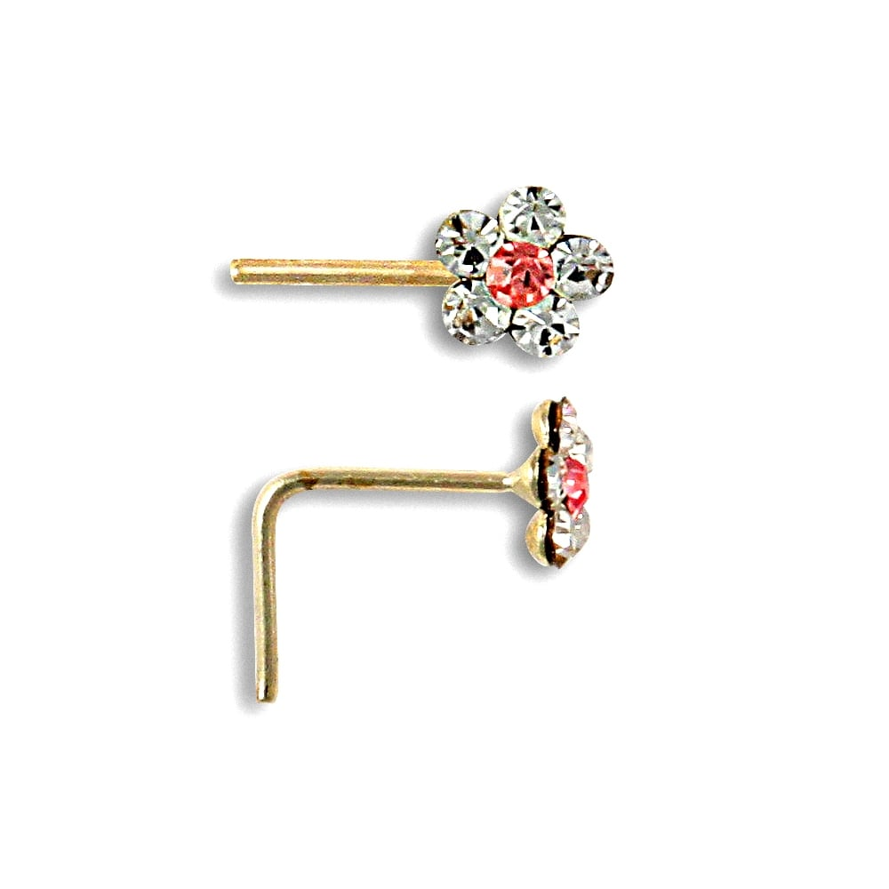 9ct Yellow Gold Heart Hinged Nose Stud New
