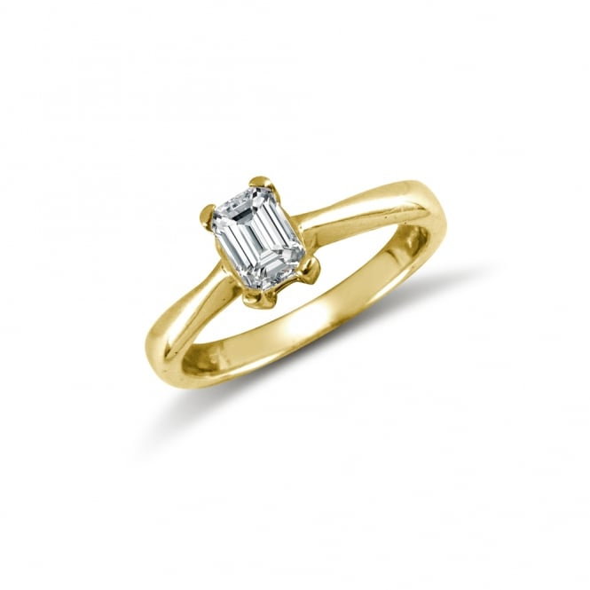 2f15fe6cf Ladies Solid 9ct Yellow Gold White Emerald Cut Cubic Zirconia Solitaire Ring