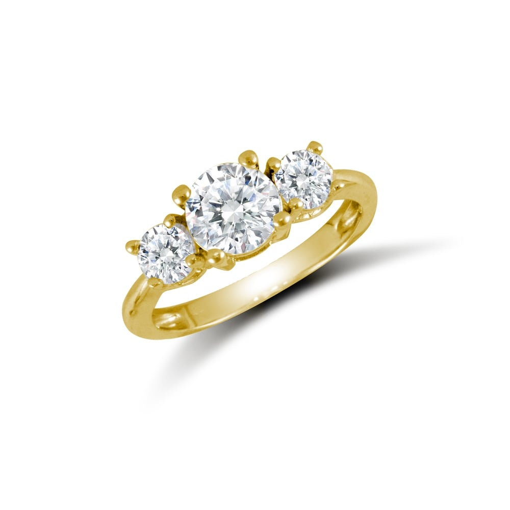 e7698b4eb Ladies Solid 9ct Yellow Gold White Round Brilliant Cubic Zirconia 3 Stone  Trilogy Ring