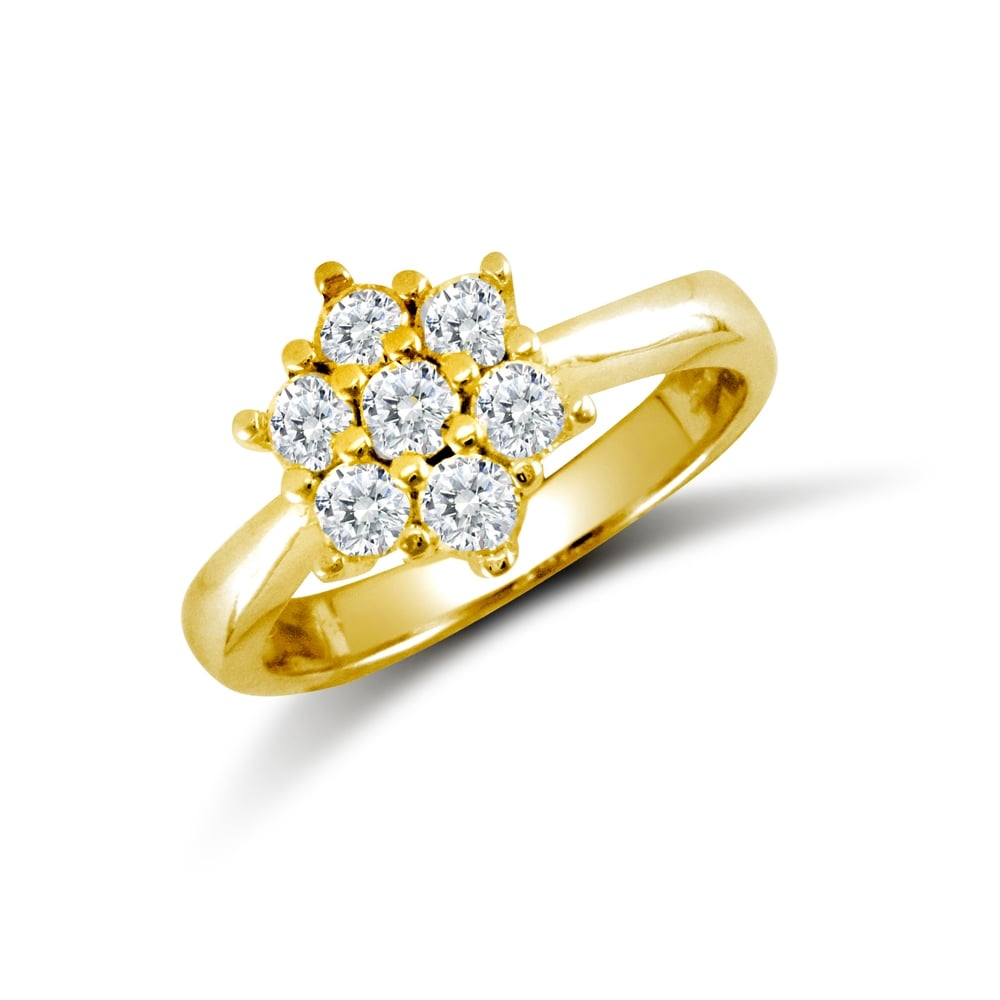 ce3cbf353 Ladies Solid 9ct Yellow Gold White Round Brilliant Cubic Zirconia 7 Stone  Cluster Ring
