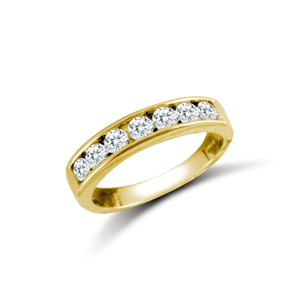 06670856a Ladies Solid 9ct Yellow Gold White Round Brilliant Cubic Zirconia 7 Stone  Eternity Ring