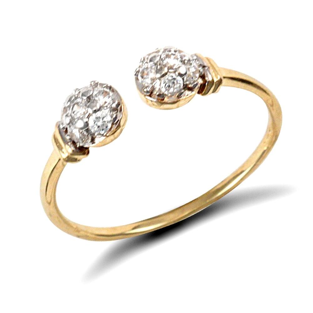 Ladies Solid 9ct Gold White Round Brilliant Cubic Zirconia Bead Torque Ring