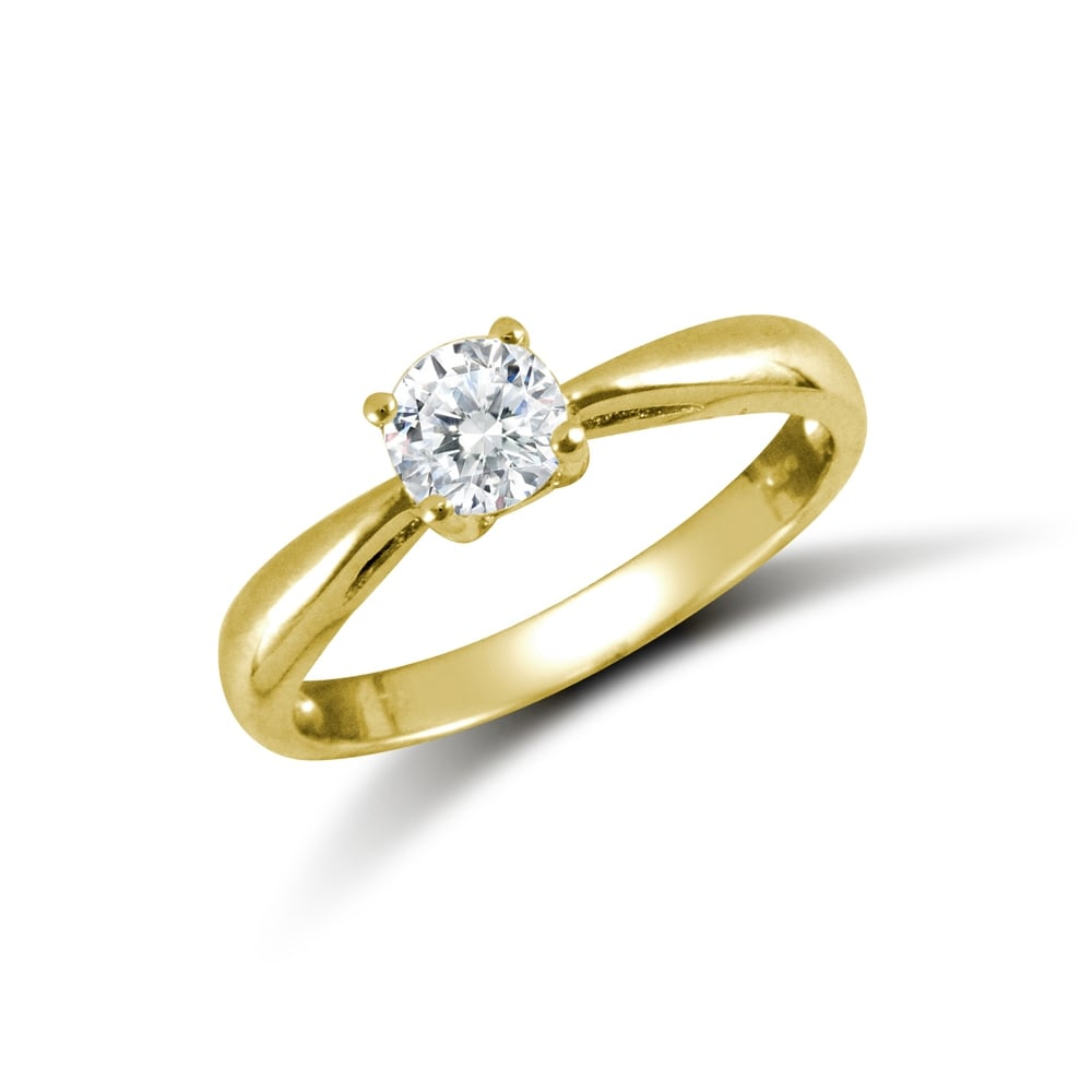 2bc822c23 Ladies Solid 9ct Yellow Gold White Round Brilliant Cubic Zirconia Solitaire  Engagement Ring