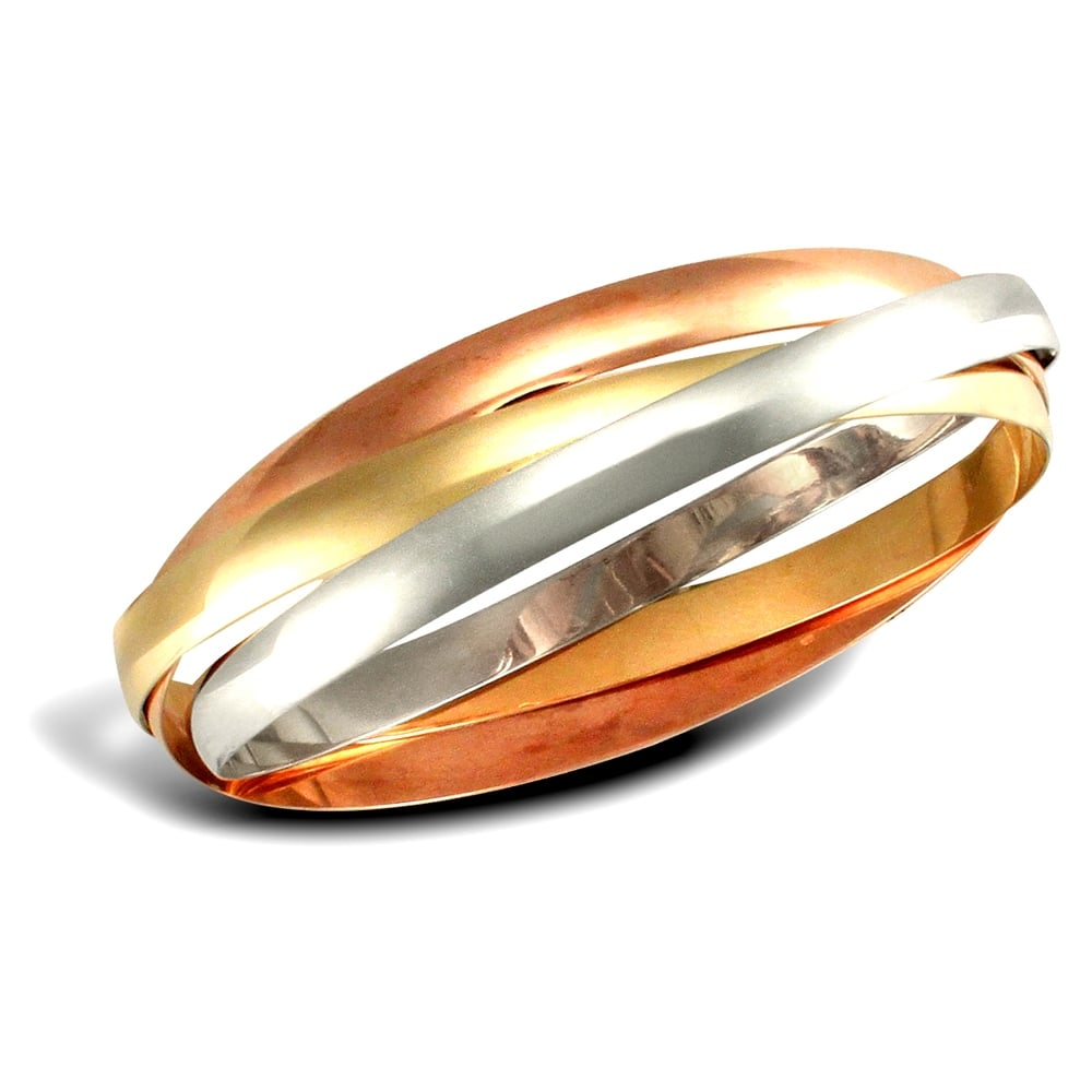 Solid 9ct Yellow White and Rose Gold Russian Wedding Ring 5mm Bangle