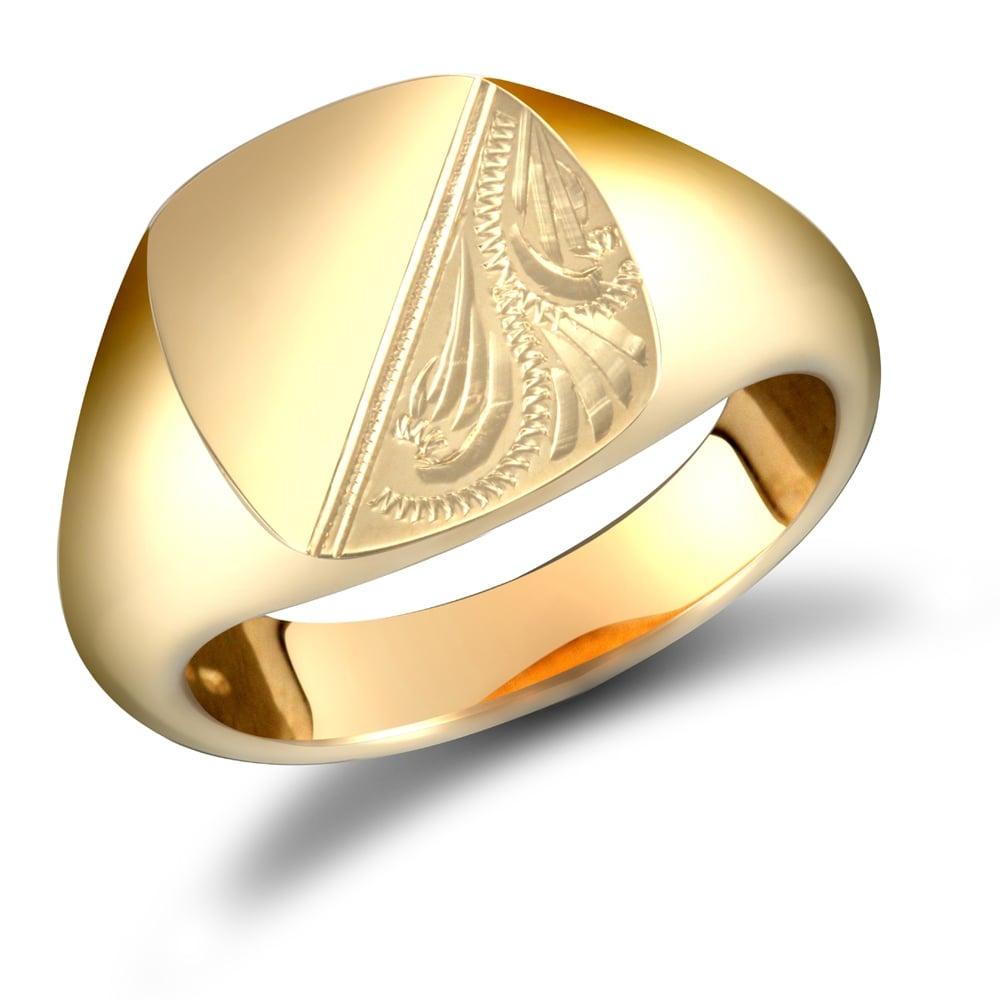 dcbe7f4631dc6 Men's Solid 9ct Yellow Gold Diamond Cut Square Cushion Signet Ring